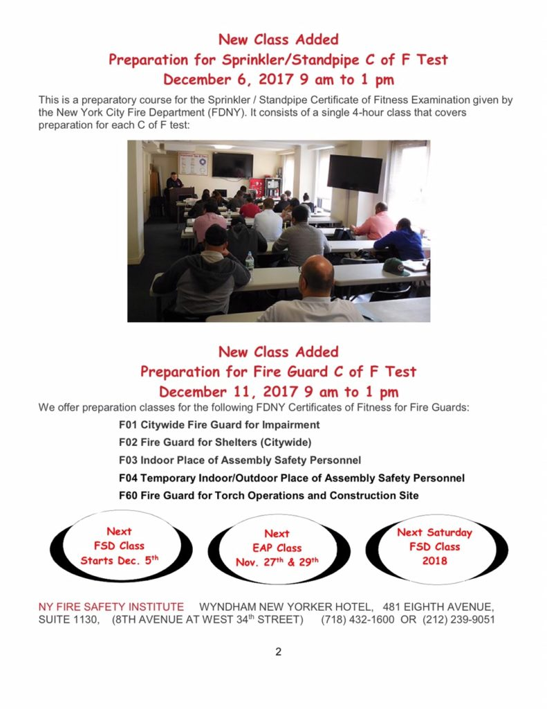 Fire Safety Message November 2017 Ny Fire Consultants Inc