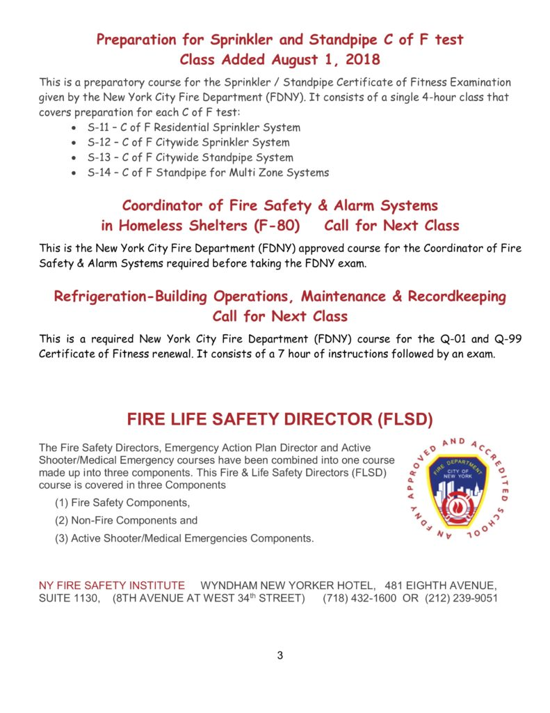 Fire Safety Message June 2018 Ny Fire Consultants Inc