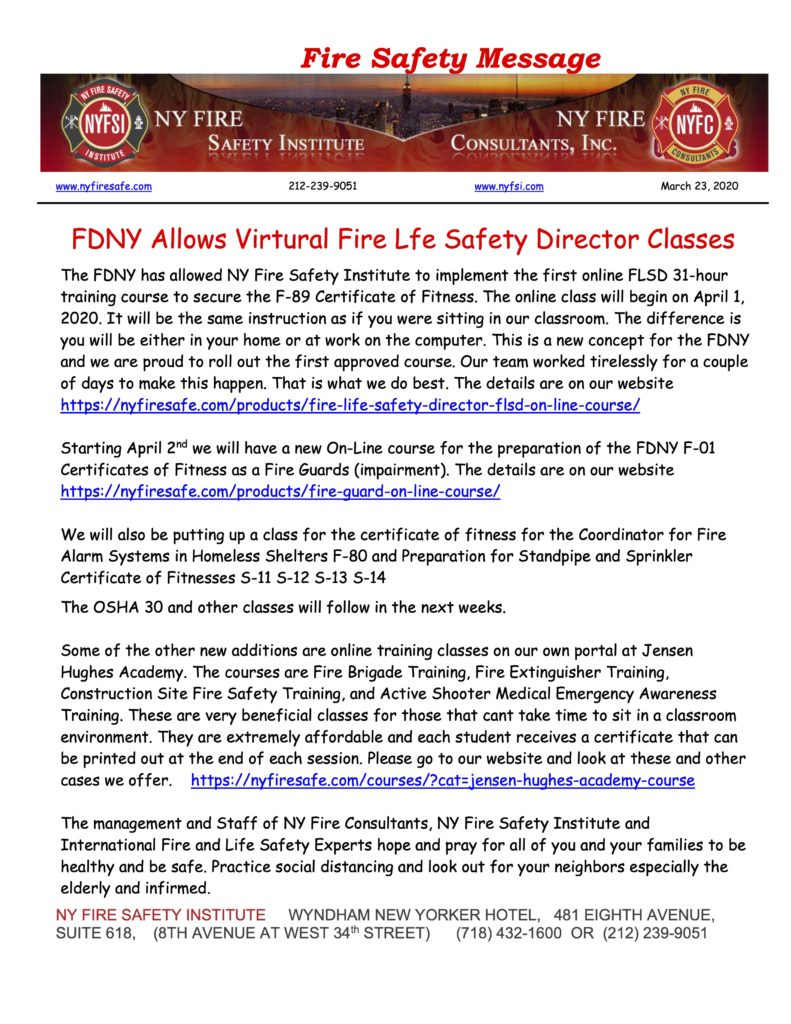FDNY Allows Virtual Fire Life Safety Director Classes - NY ...